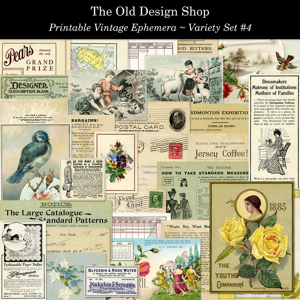 printable vintage ephemera old design shop