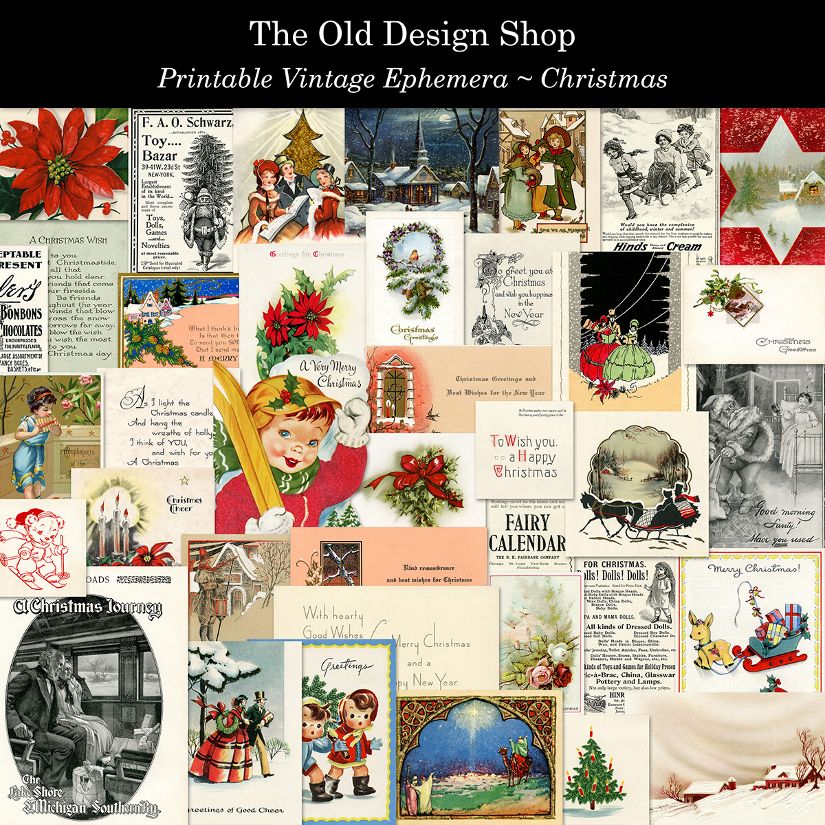 printable vintage Christmas ephemera kit