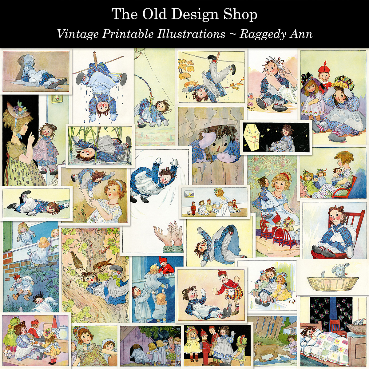 vintage Raggedy Ann storybook illustrations