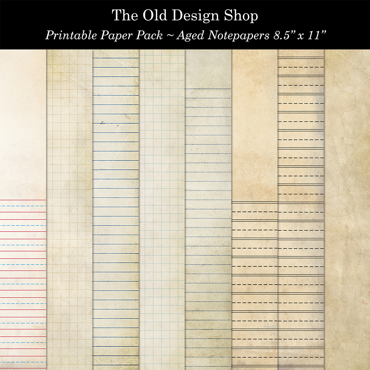 Aged Notepaper Printable Digital Download