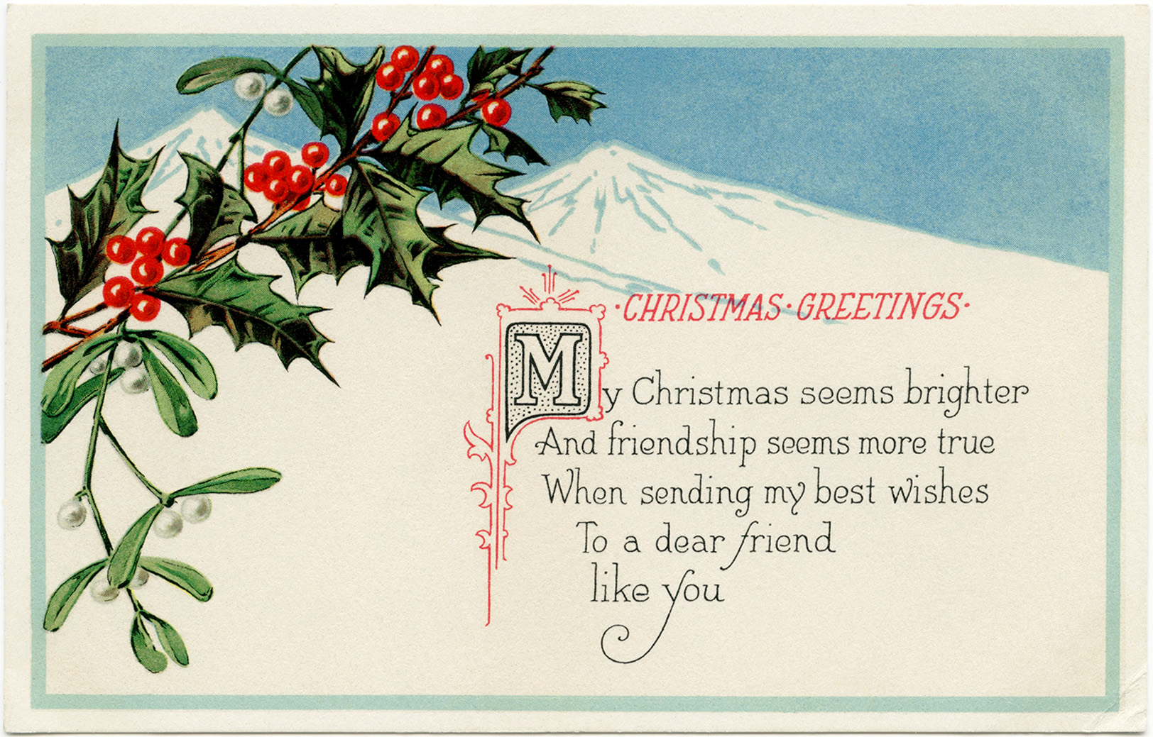 Free vintage Christmas postcards printable download