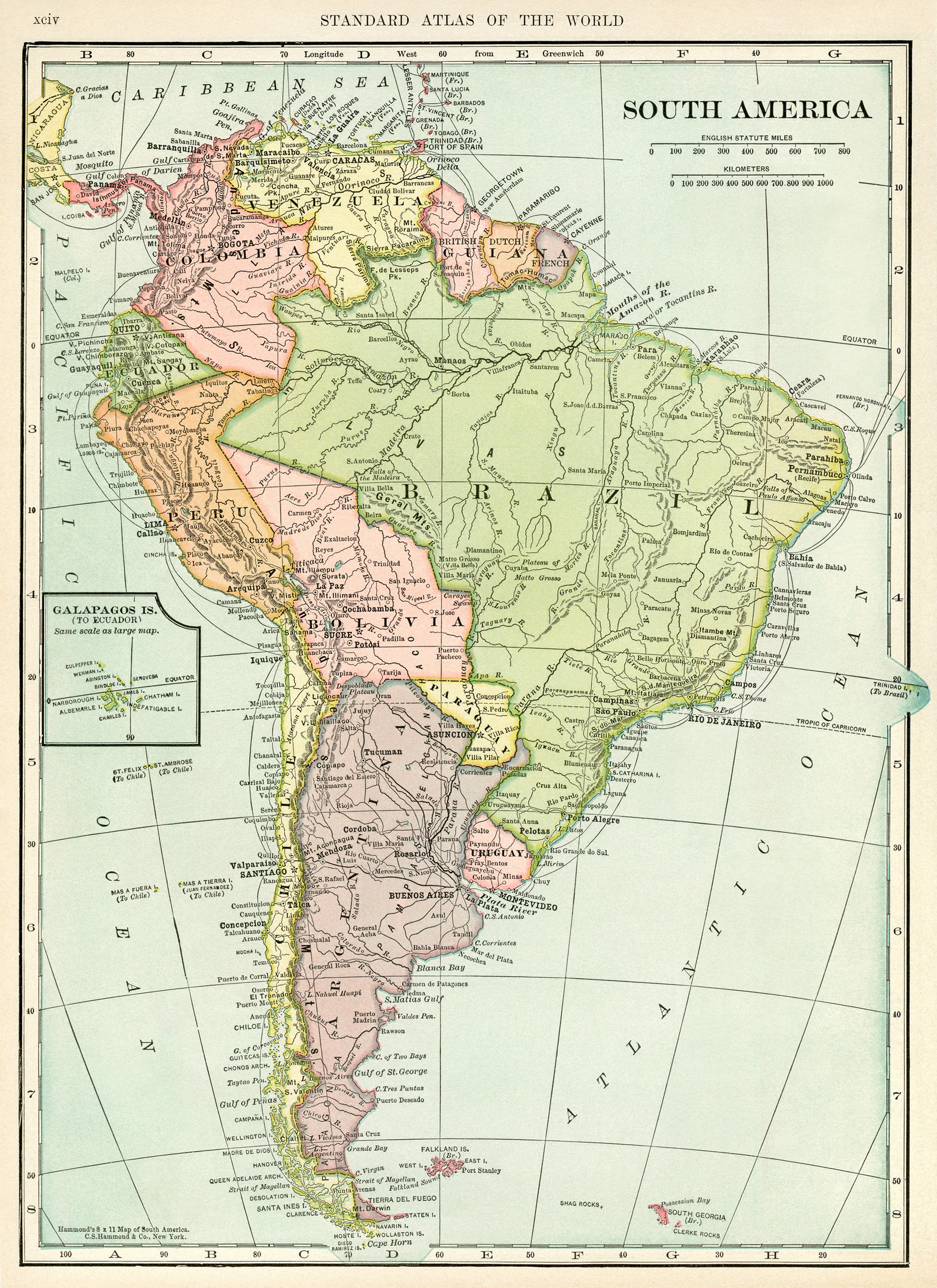 Free vintage map of South America