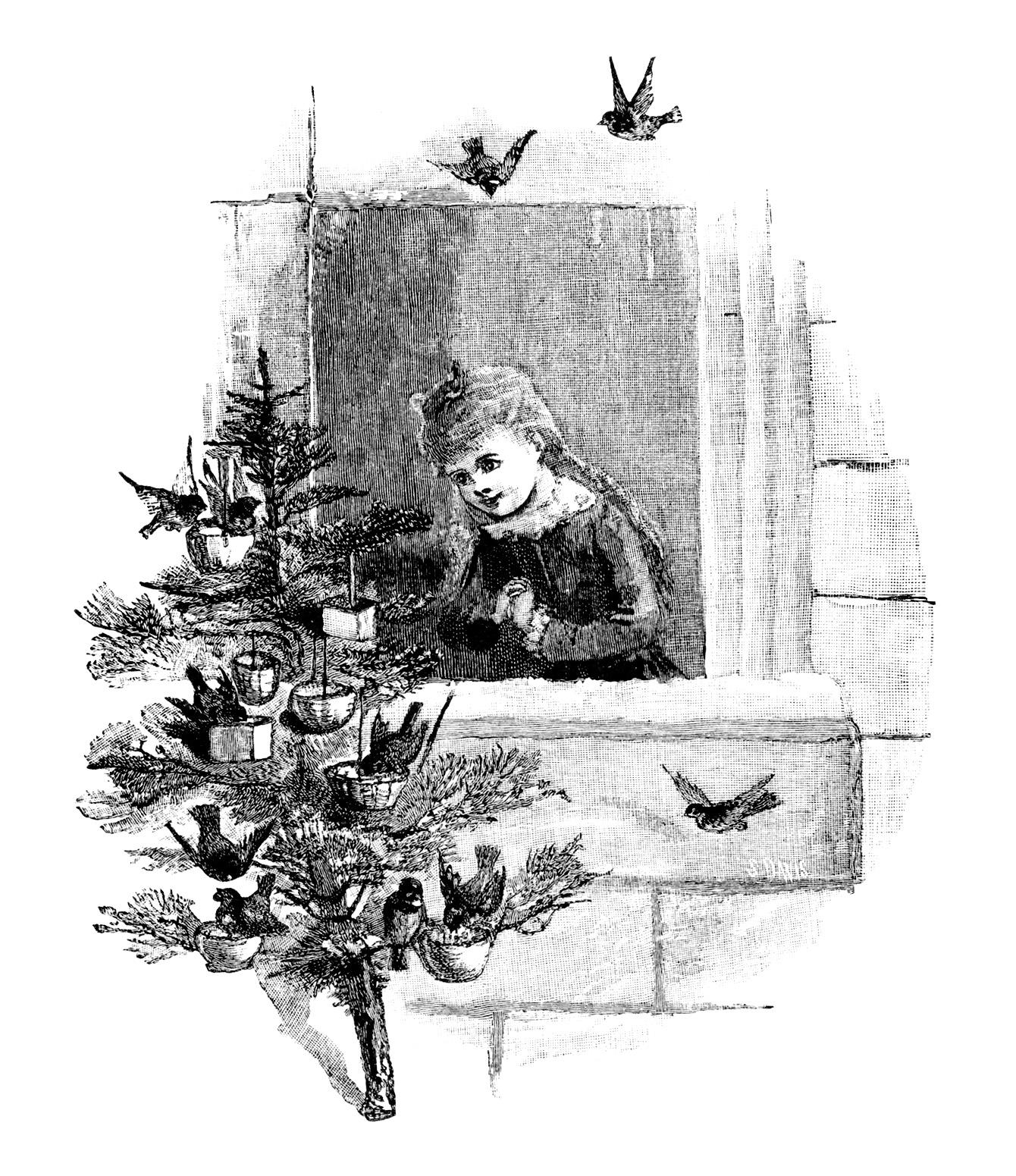 Free birds Christmas vintage clip art