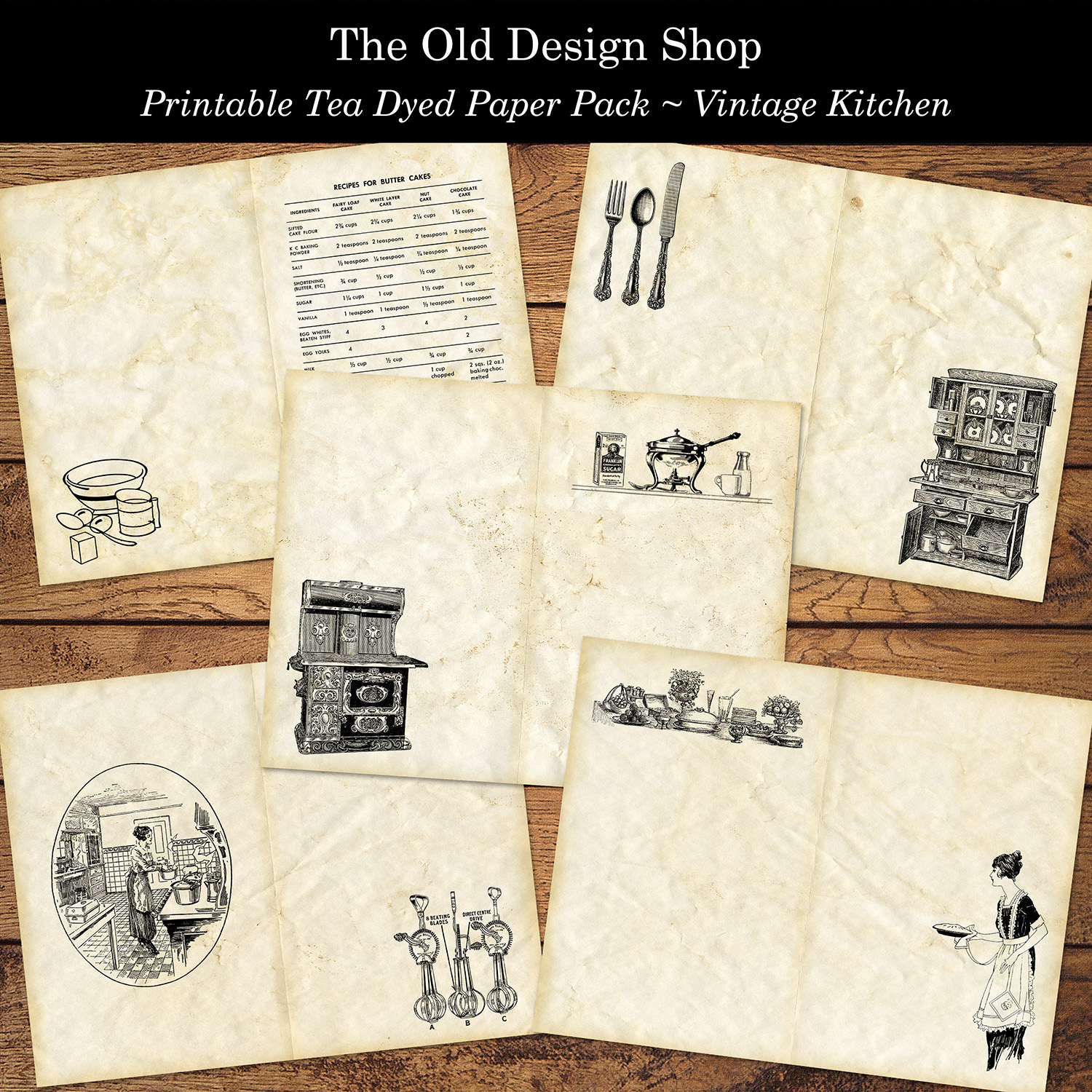 printable tea dyed vintage kitchen paper pack