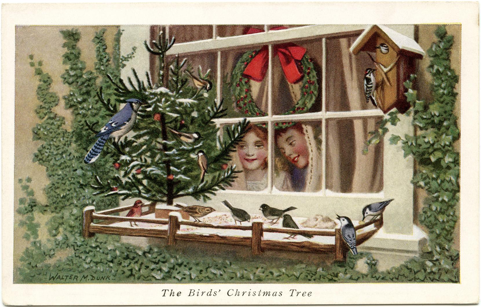Free printable birds Christmas tree postcard