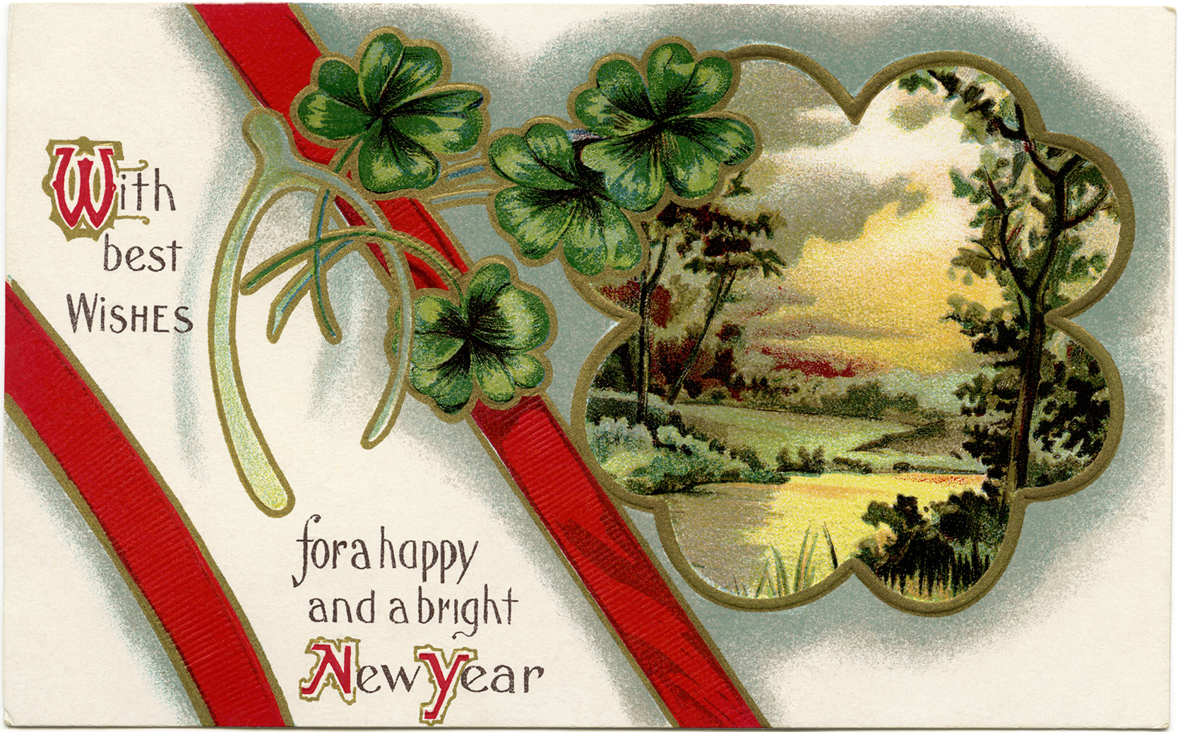 Free printable vintage new year postcard