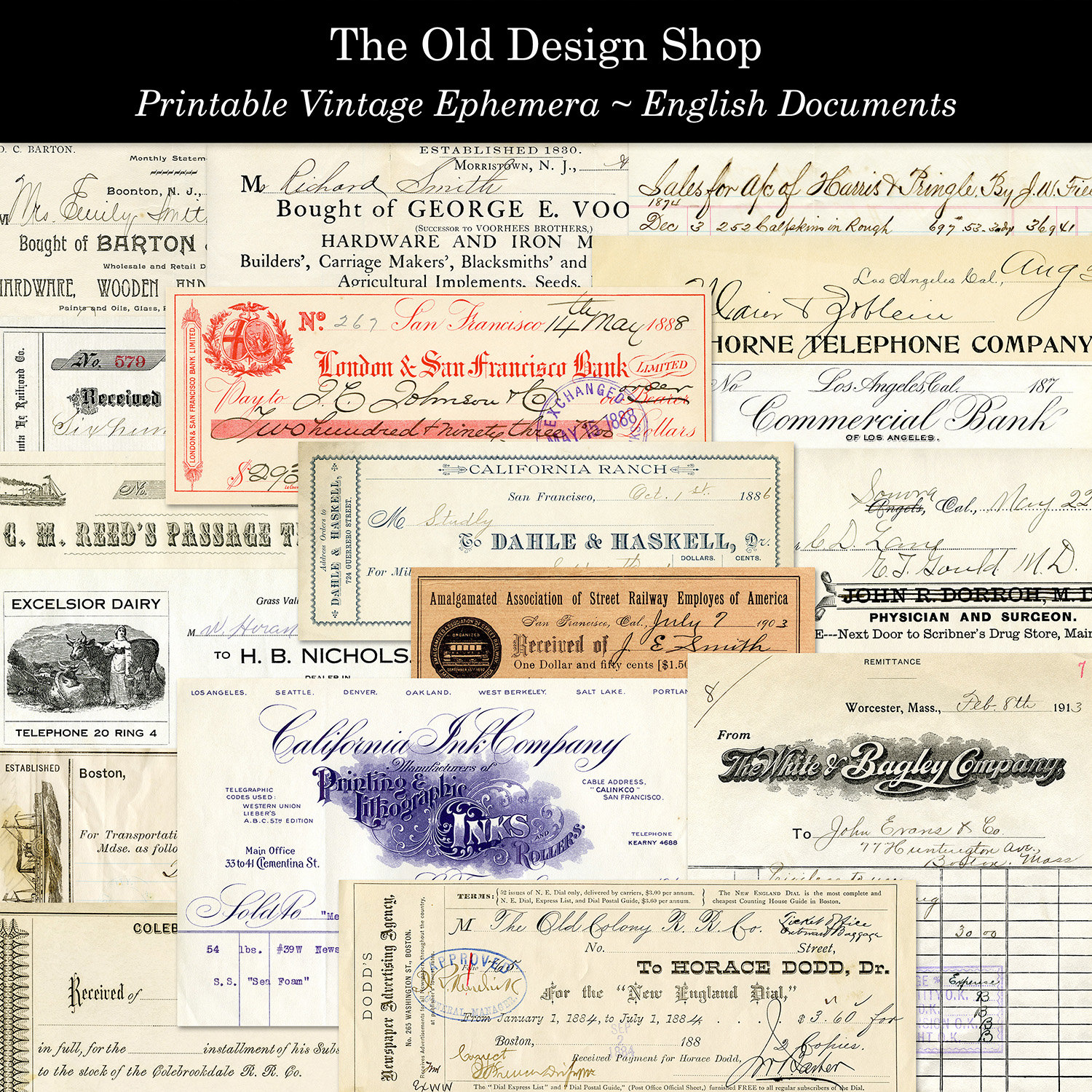 printable vintage ephemera English documents