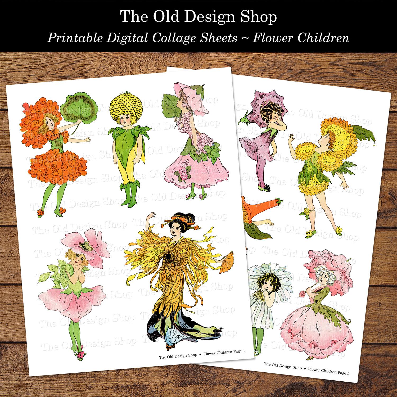 digital collage sheet vintage flower children