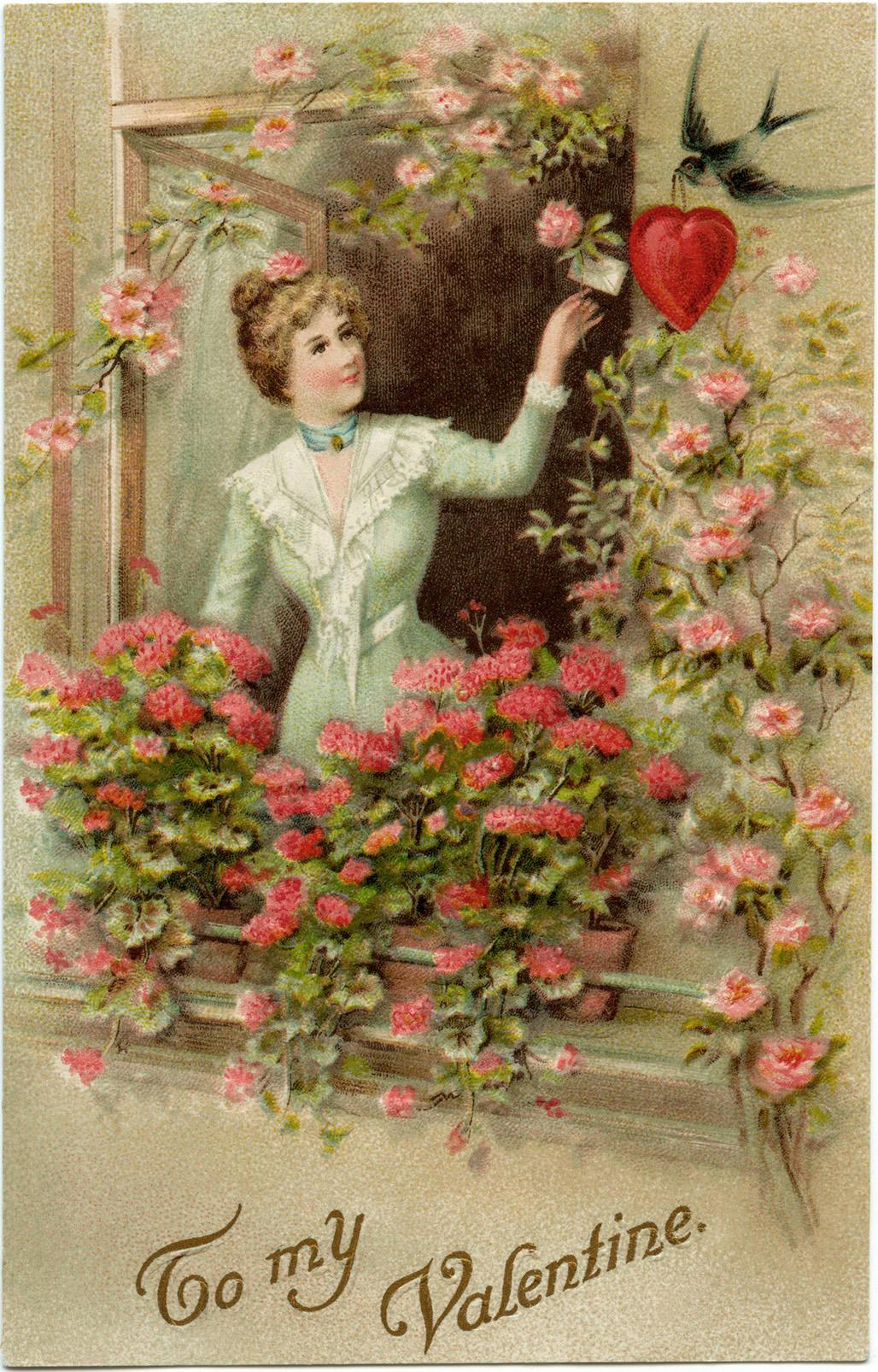 printable vintage valentine postcard