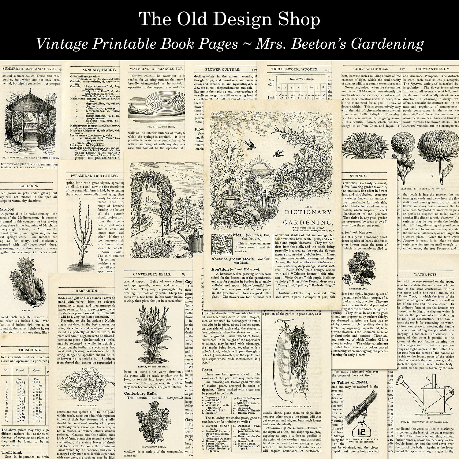 vintage garden gardening printable book pages