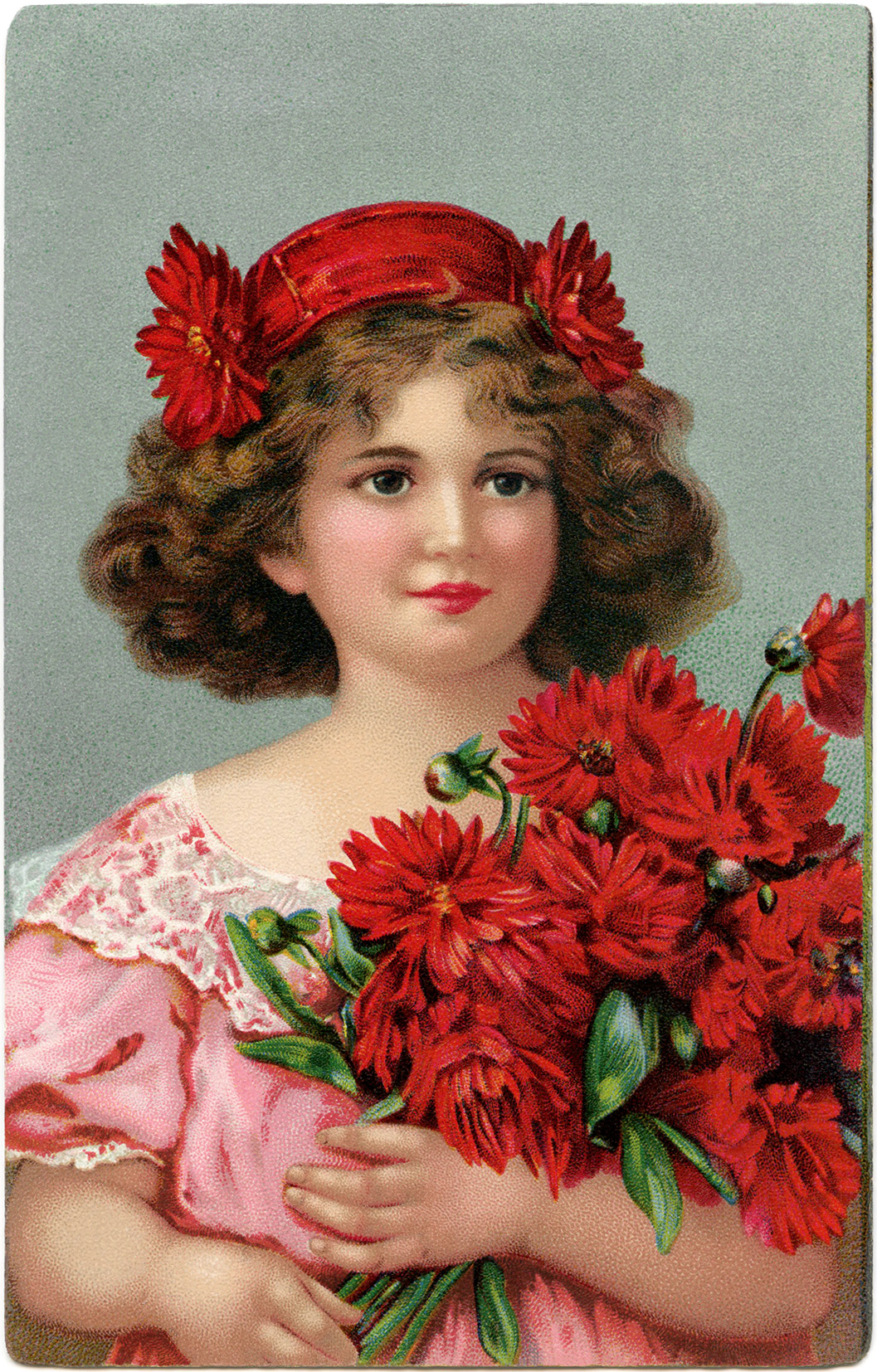 printable vintage girl holding red flowers