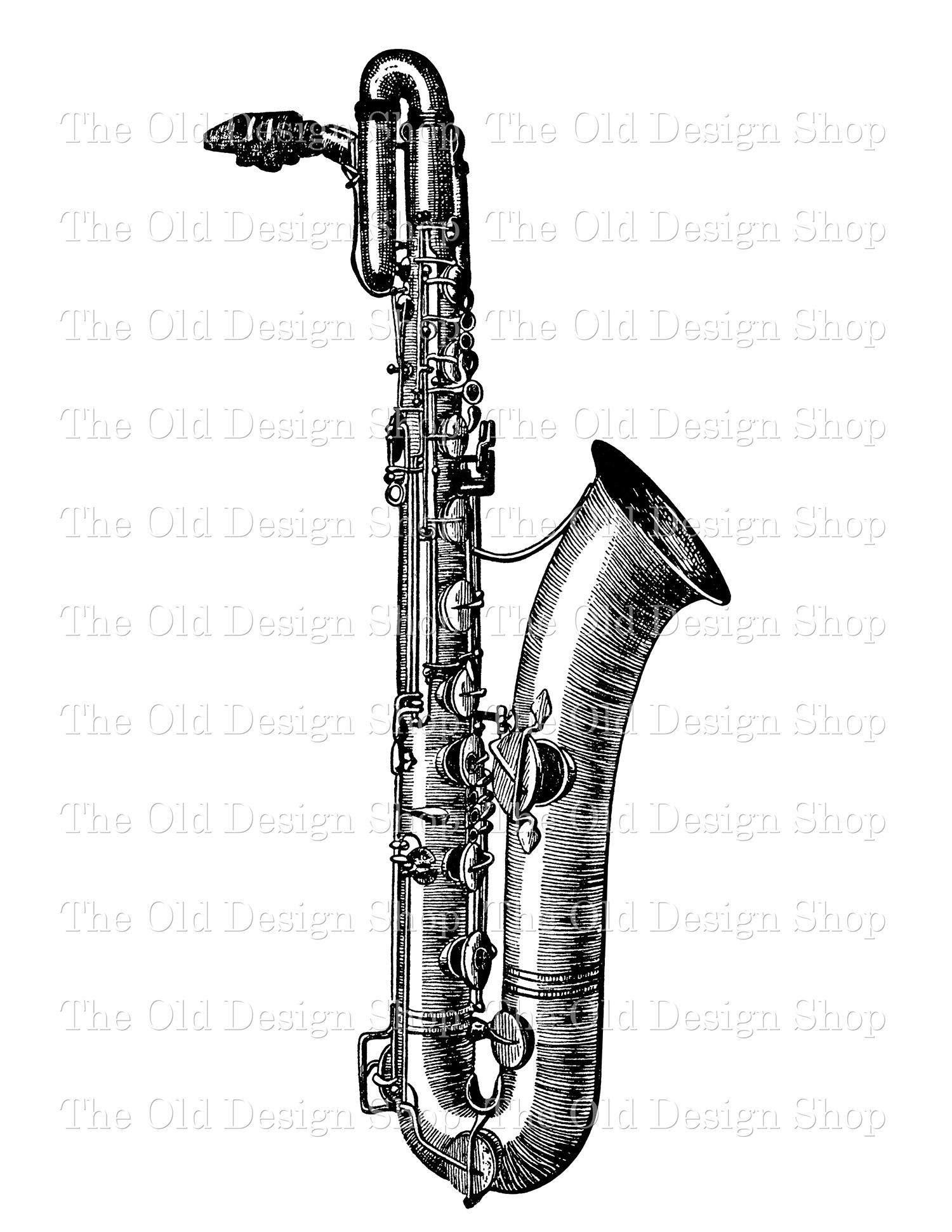 saxophone digital stamp transfer image clip art