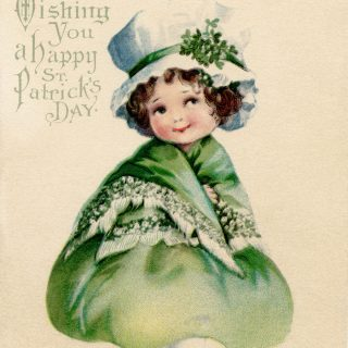 vintage St Patrick's Day postcard girl in green