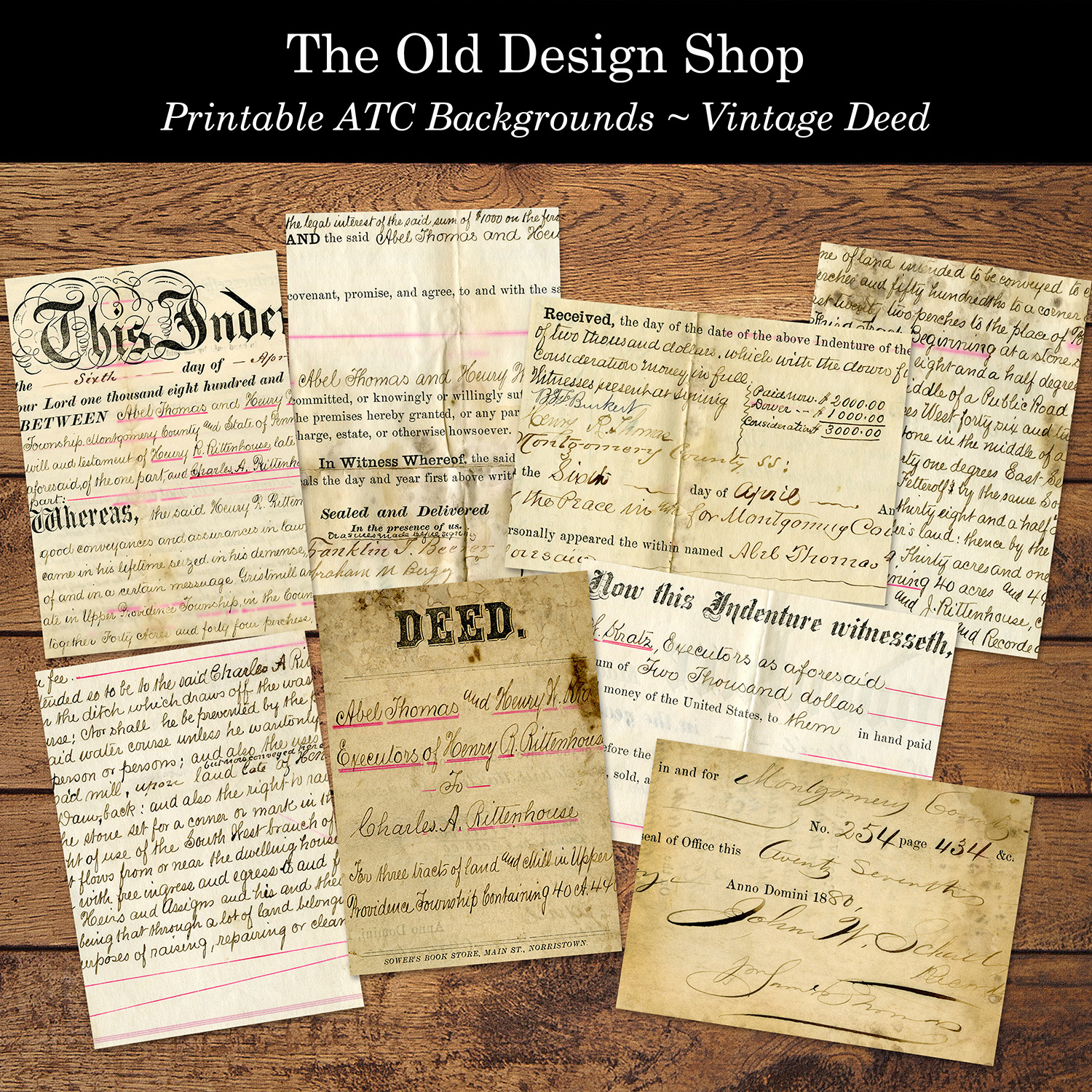 vintage Deed document printable ATC backgrounds