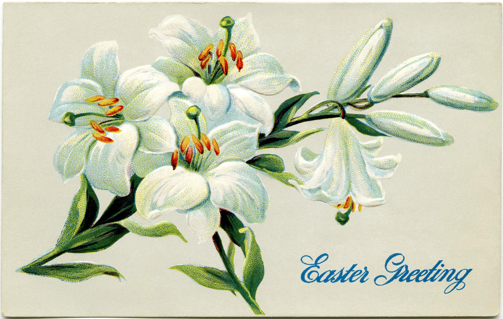 vintage Easter floral postcards free clip art