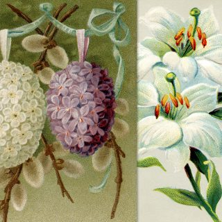 vintage Easter floral postcards