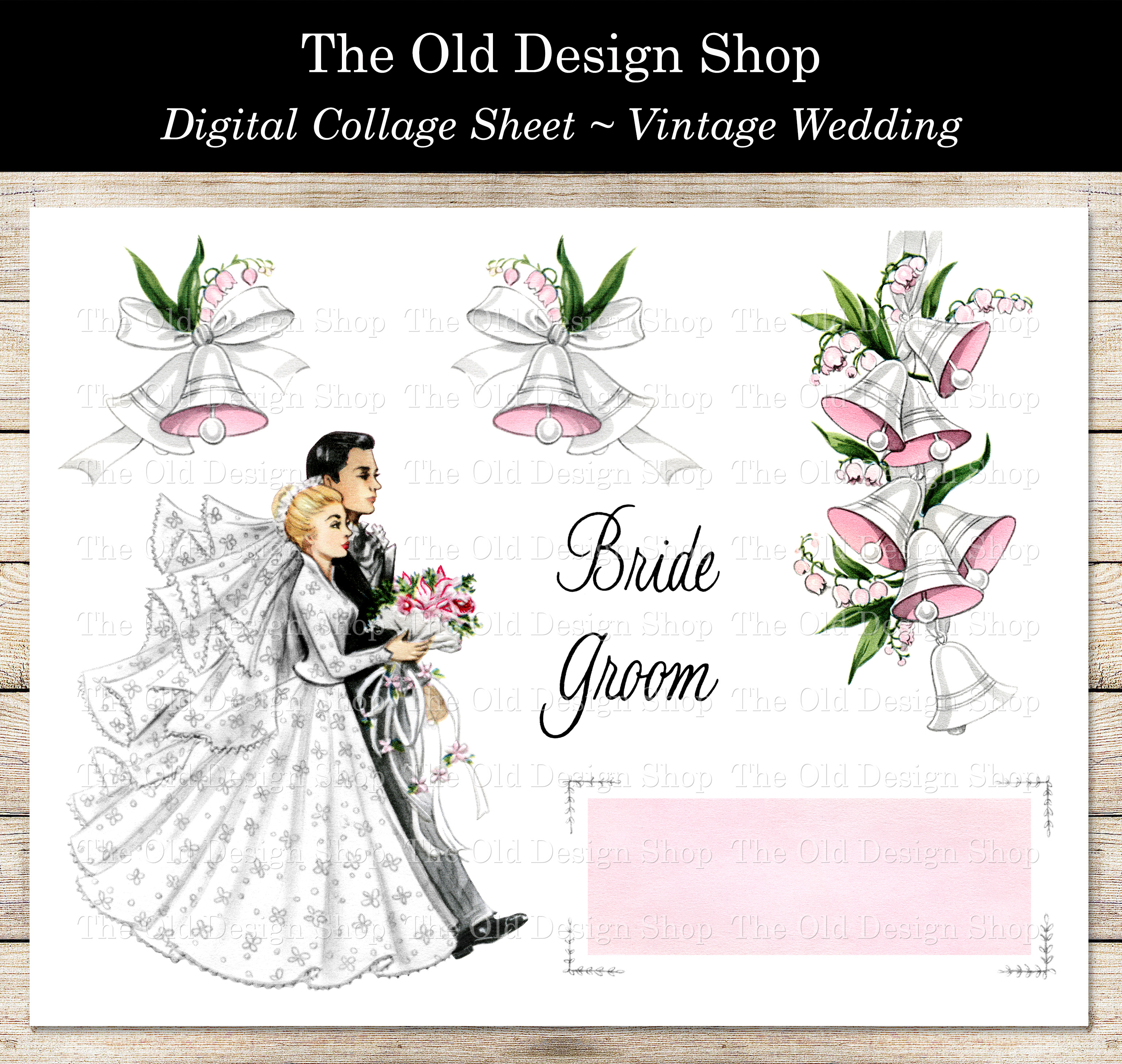 vintage wedding digital collage sheet