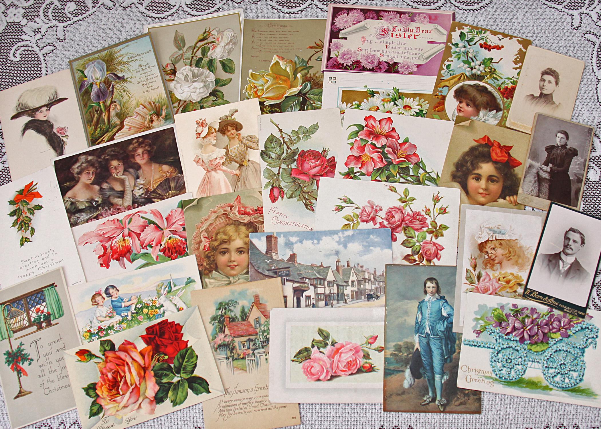 floral victorian card vintage ephemera