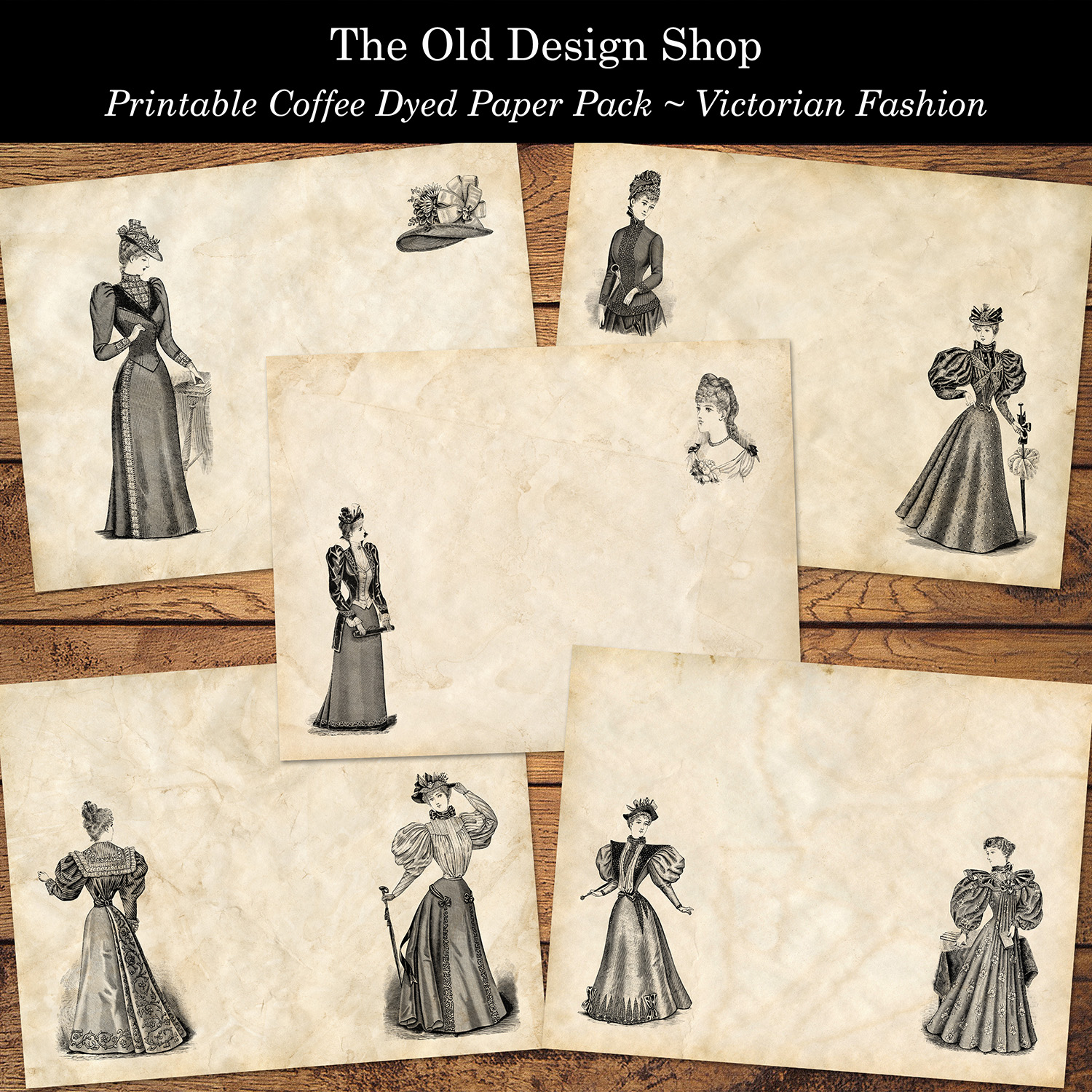 printable coffee dyed paper pack victorian fashion