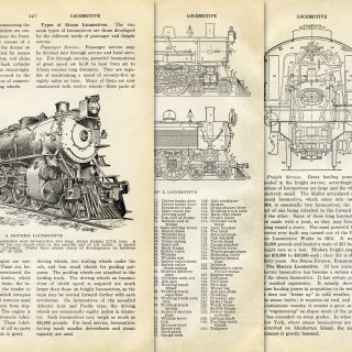 vintage locomotive book pages