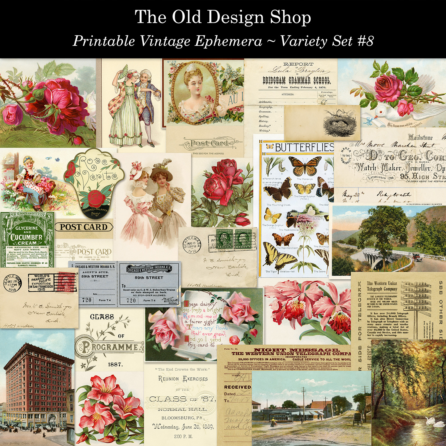 printable vintage ephemera set 8 old design shop