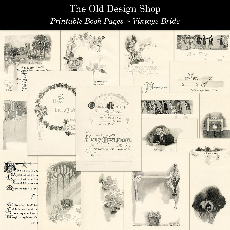 vintage bride printable book pages