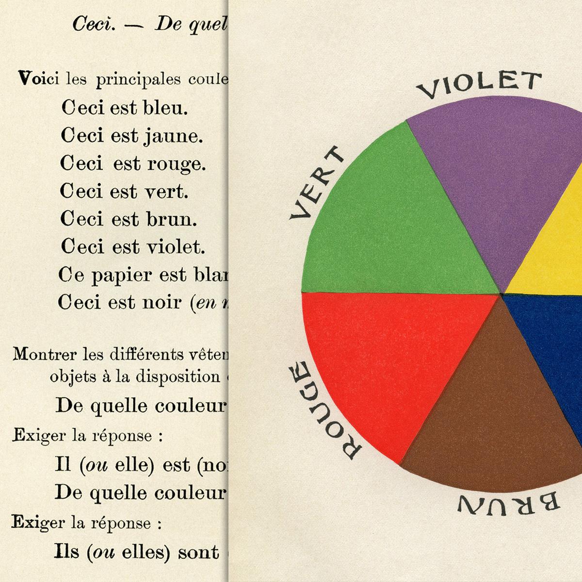 Bleu Et Vert Quel Couleur color wheel vintage french school lesson - old design shop blog
