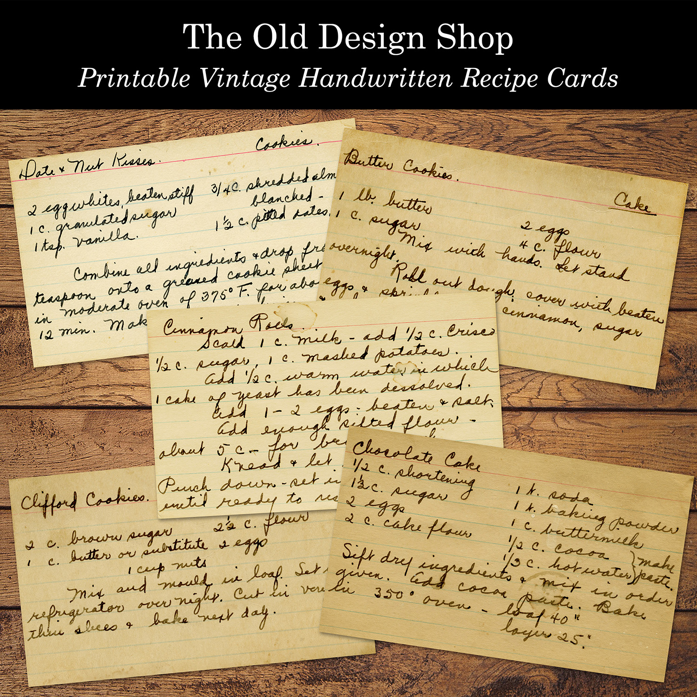 printable vintage handwritten recipe cards