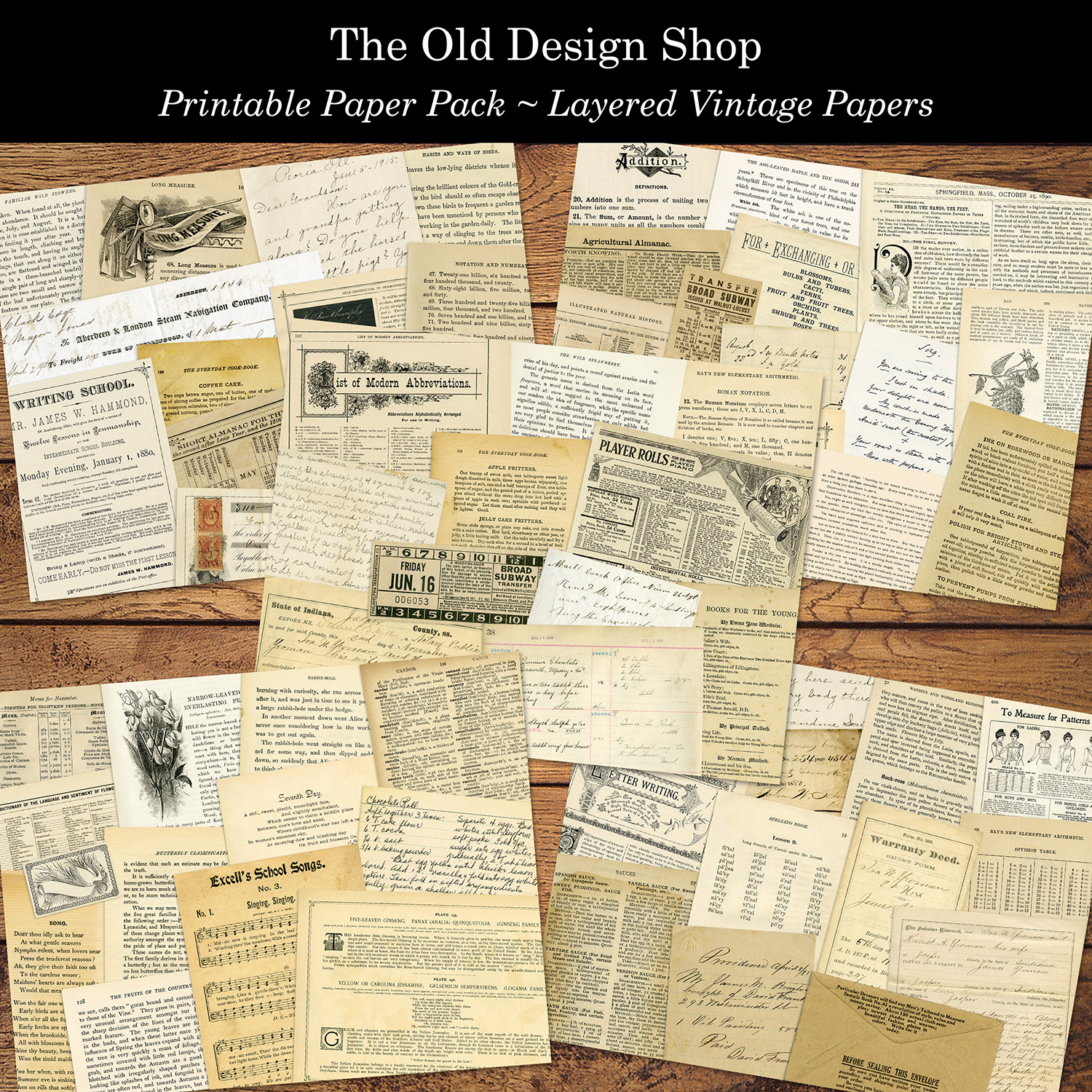 printable paper pack layered vintage papers old design shop
