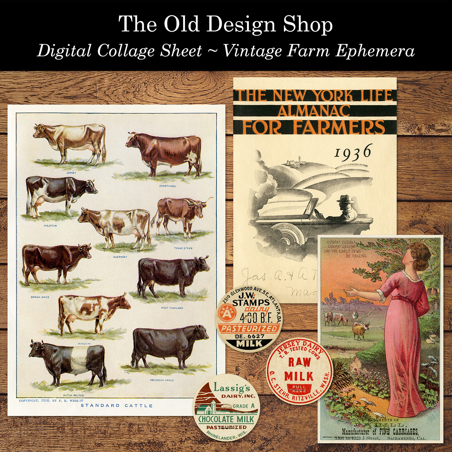 digital collage sheet vintage farm ephemera