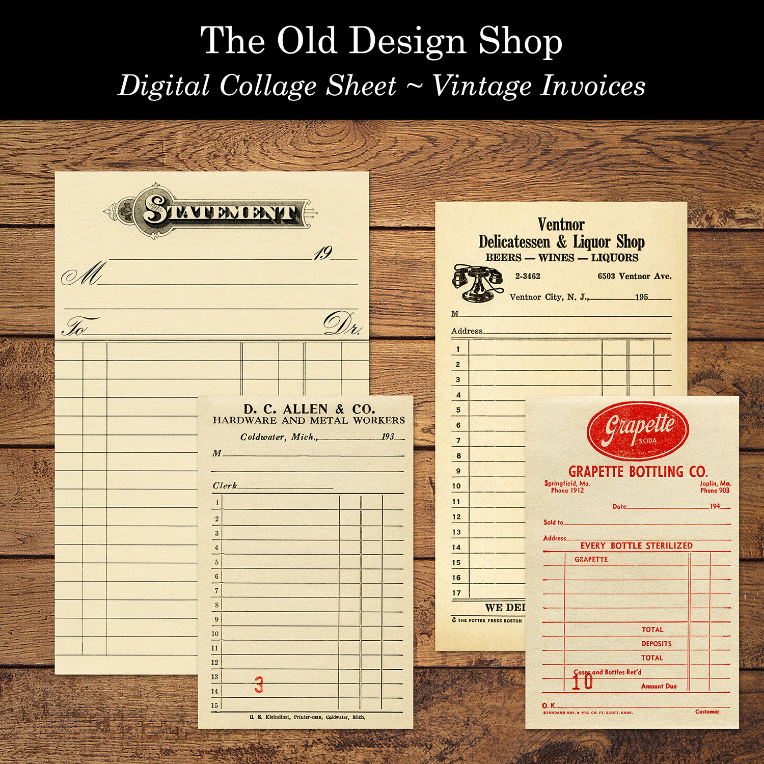 digital collage sheet vintage invoices