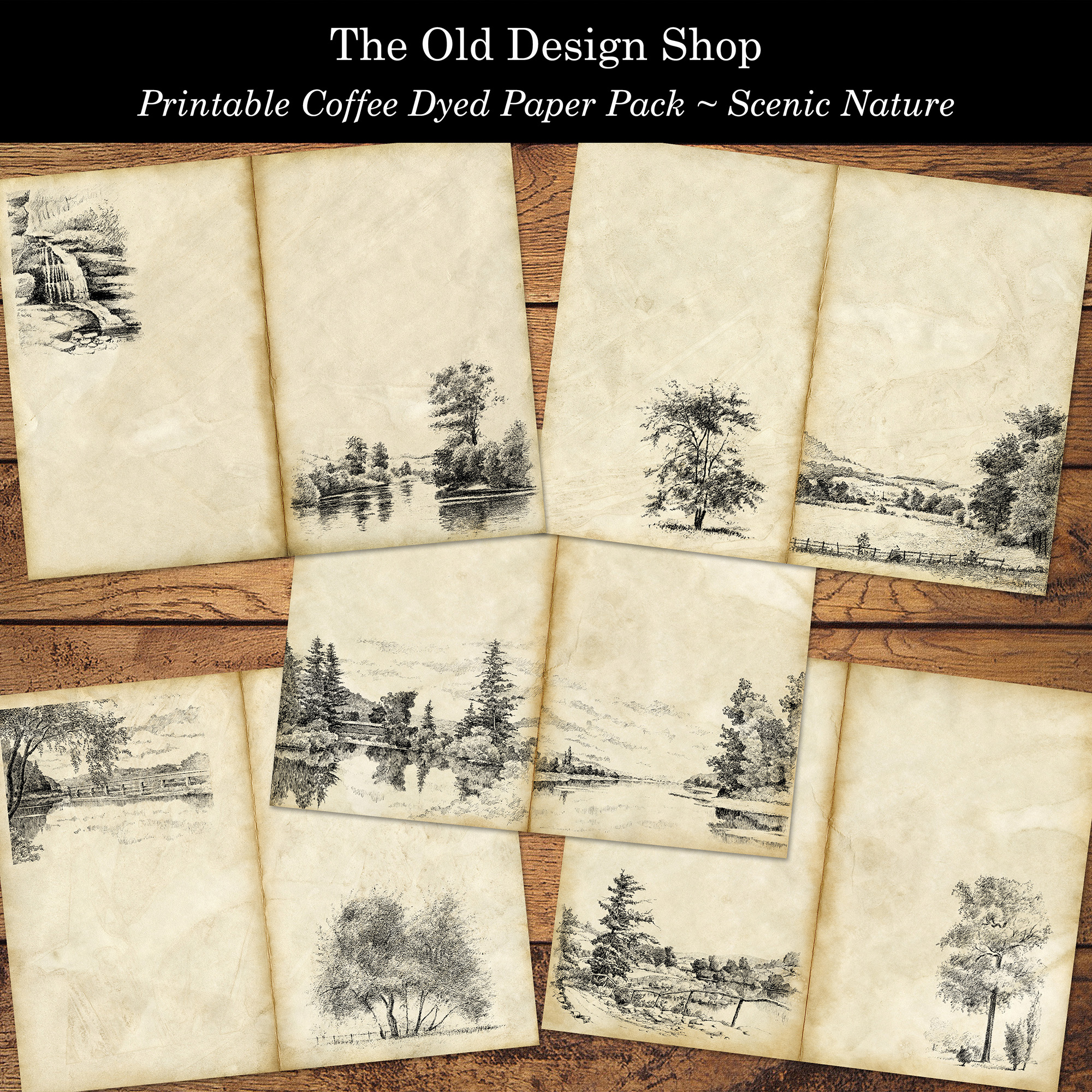 printable coffee dyed scenic nature paper pack