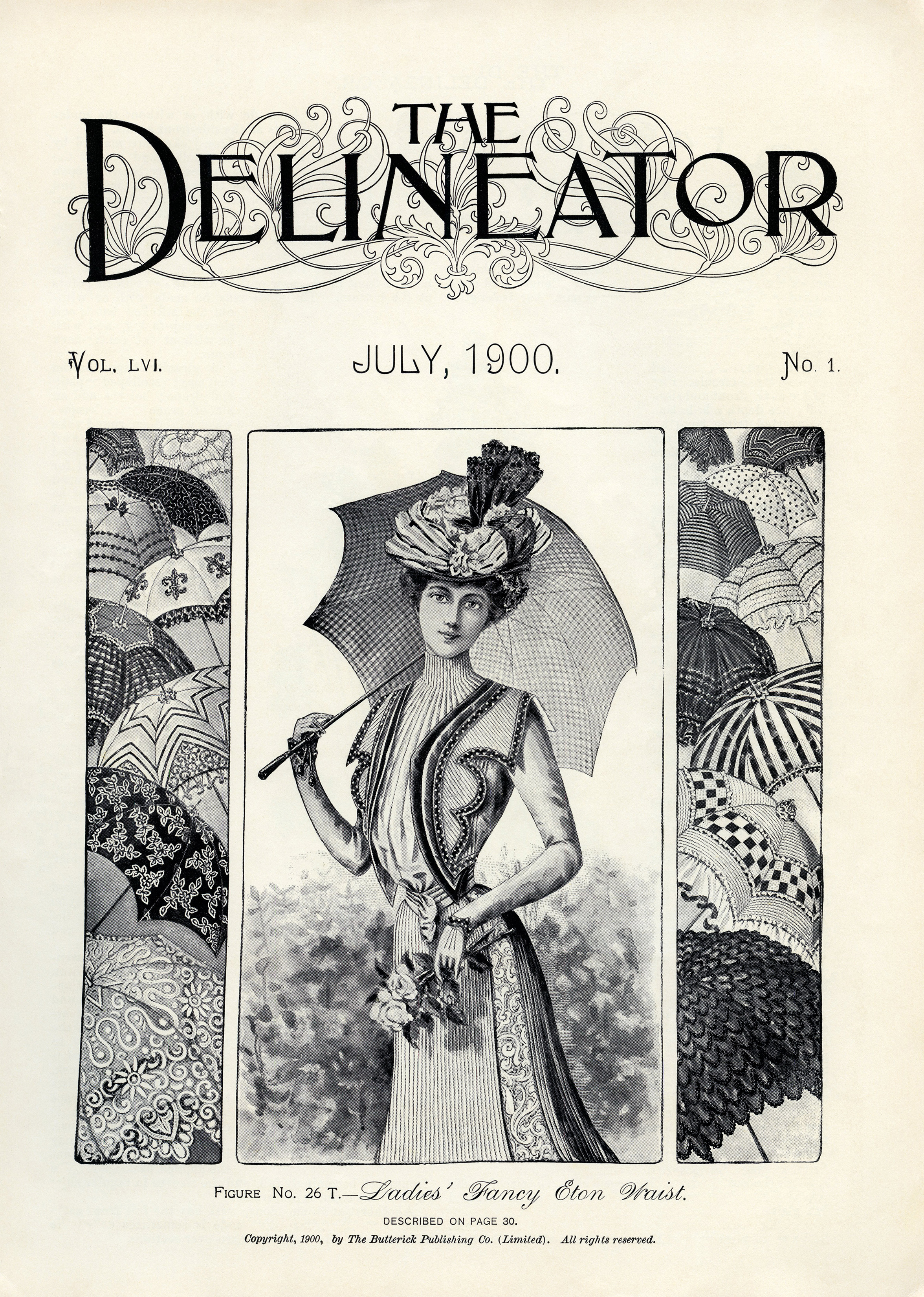 July 1900 ladies' fashion free printable clip art