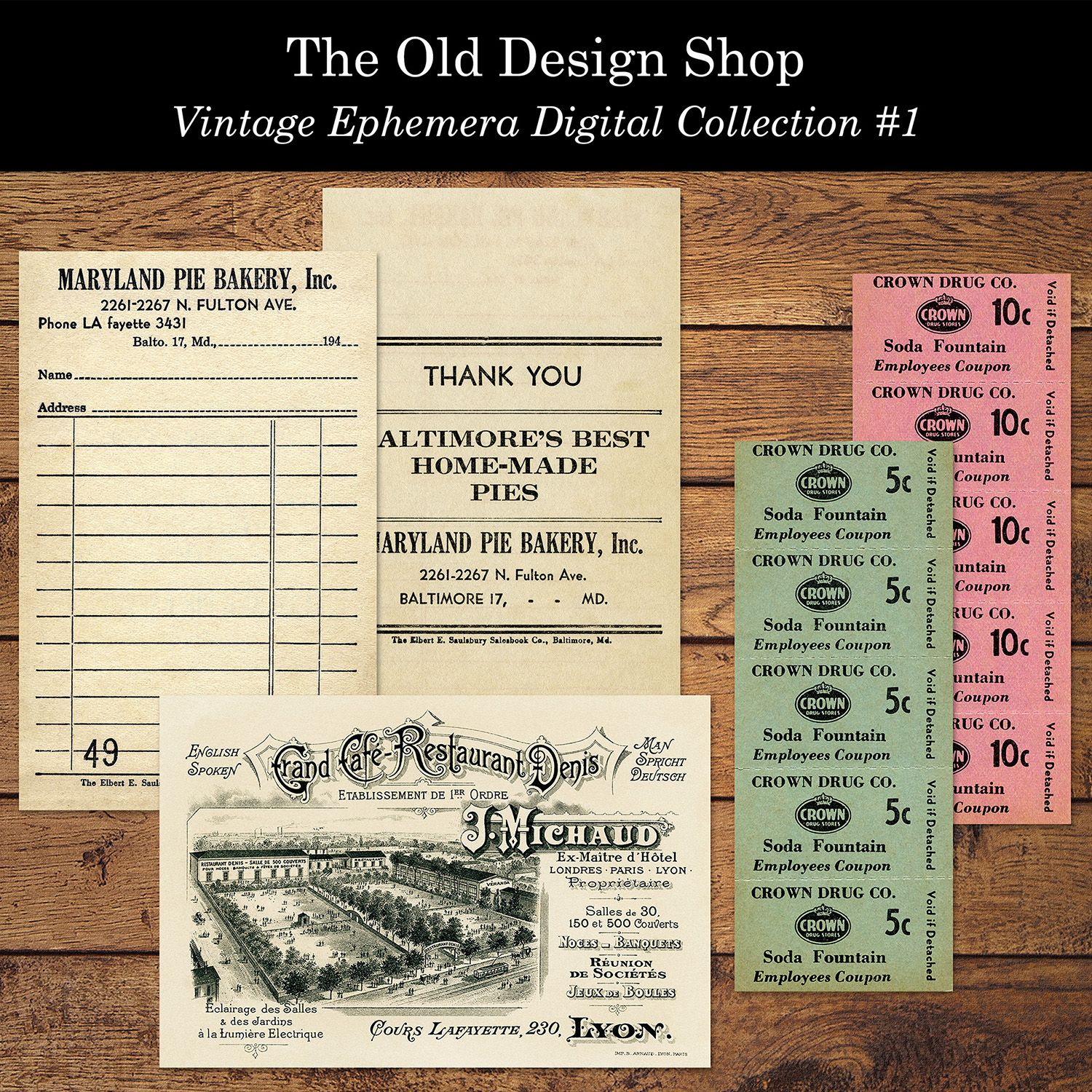 vintage ephemera digital collection old design shop
