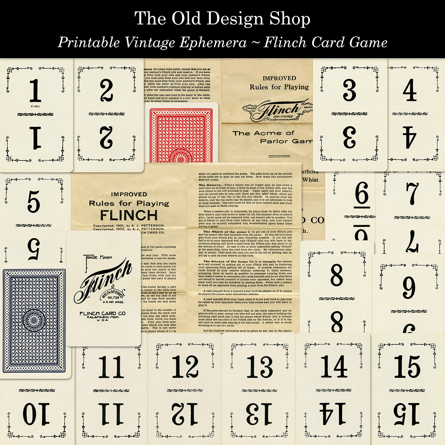 printable vintage ephemera flinch card game