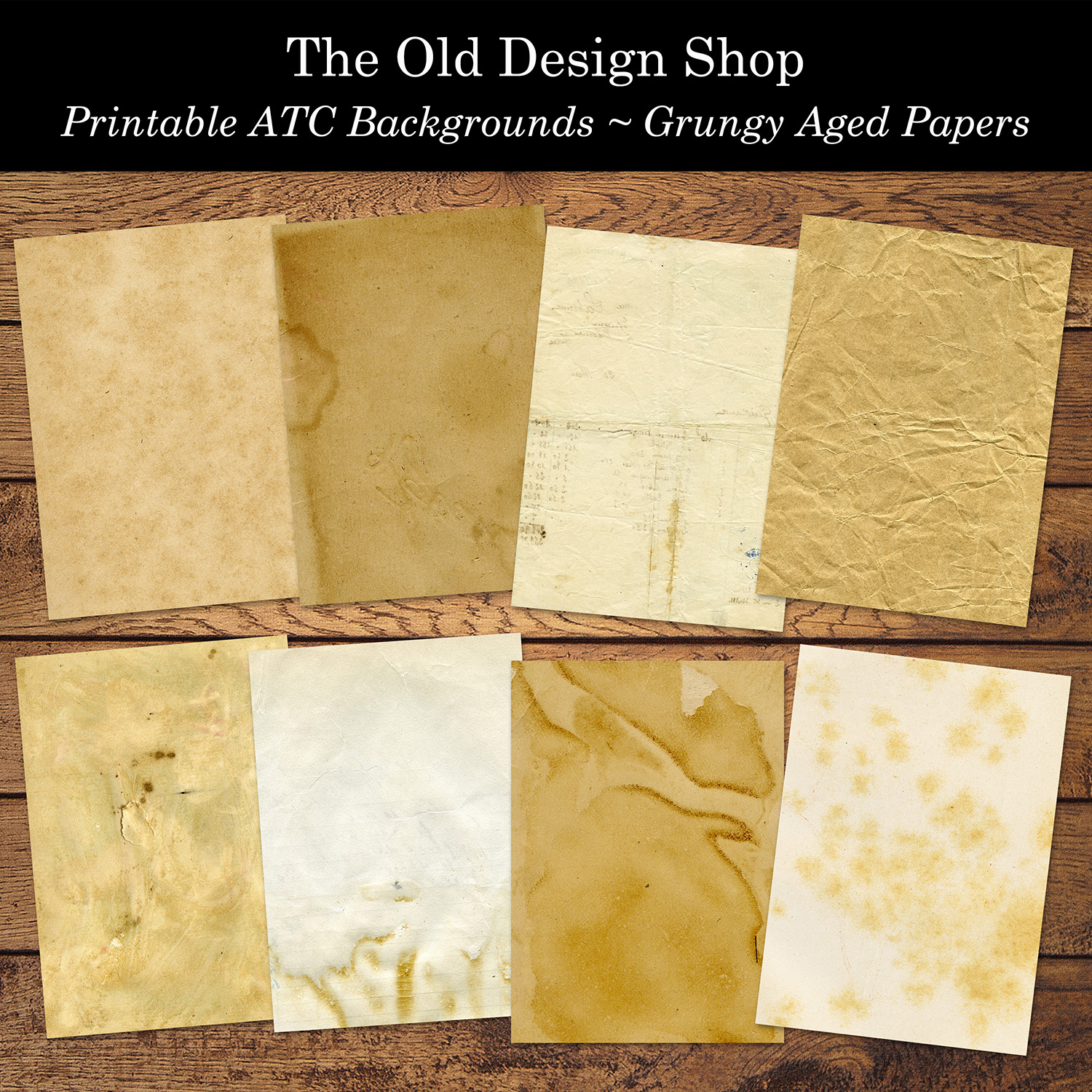 printable ATC backgrounds grungy aged papers