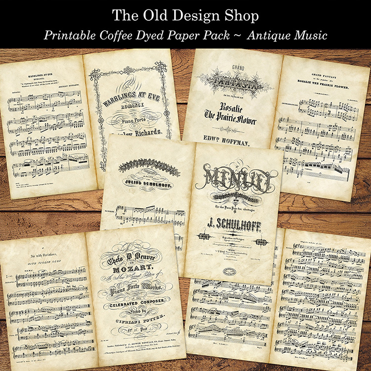 printable coffee dyed antique music paper pack