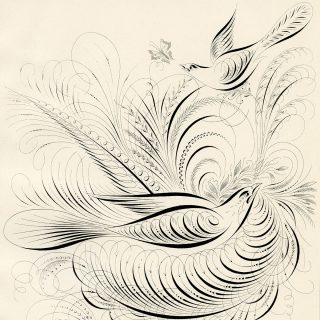 birds and swirls printable Spencerian bird