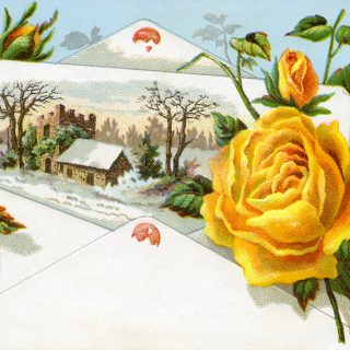 yellow rose advertising card free clip art