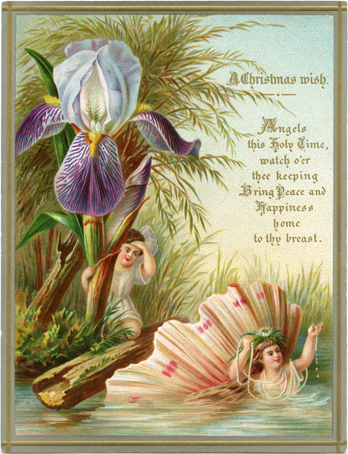 Victorian Christmas card free clip art