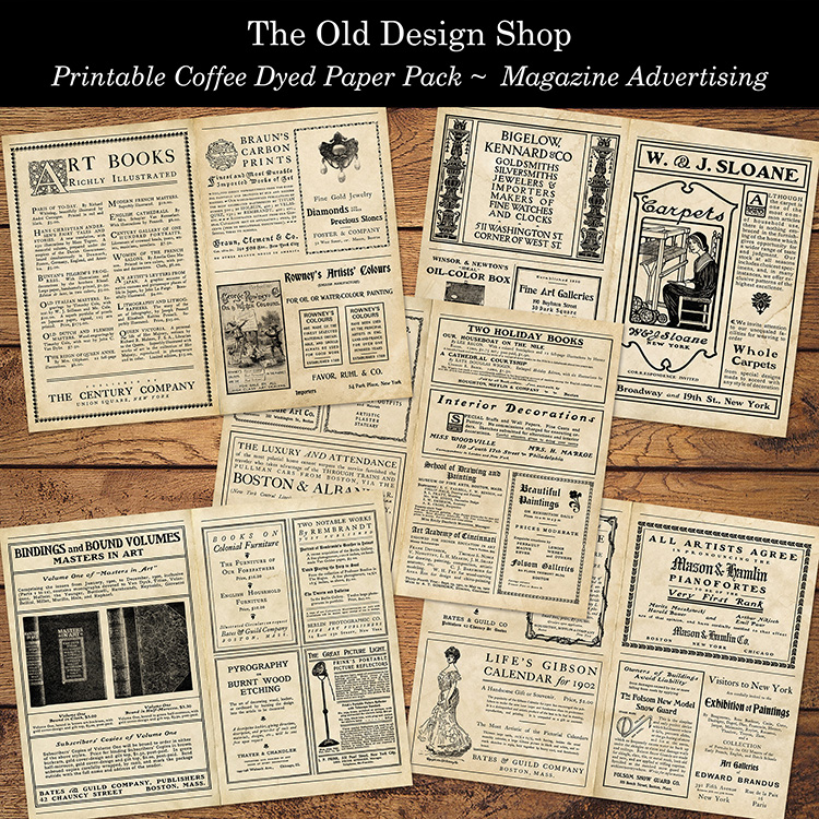 printable coffee dyed paper pack magazine advertising