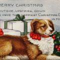 vintage Christmas dog postcard free clip art