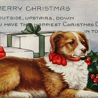 vintage Christmas dog postcard free clip art