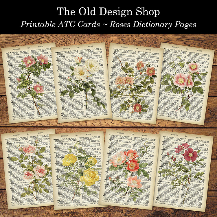 printable ATC cards roses dictionary pages