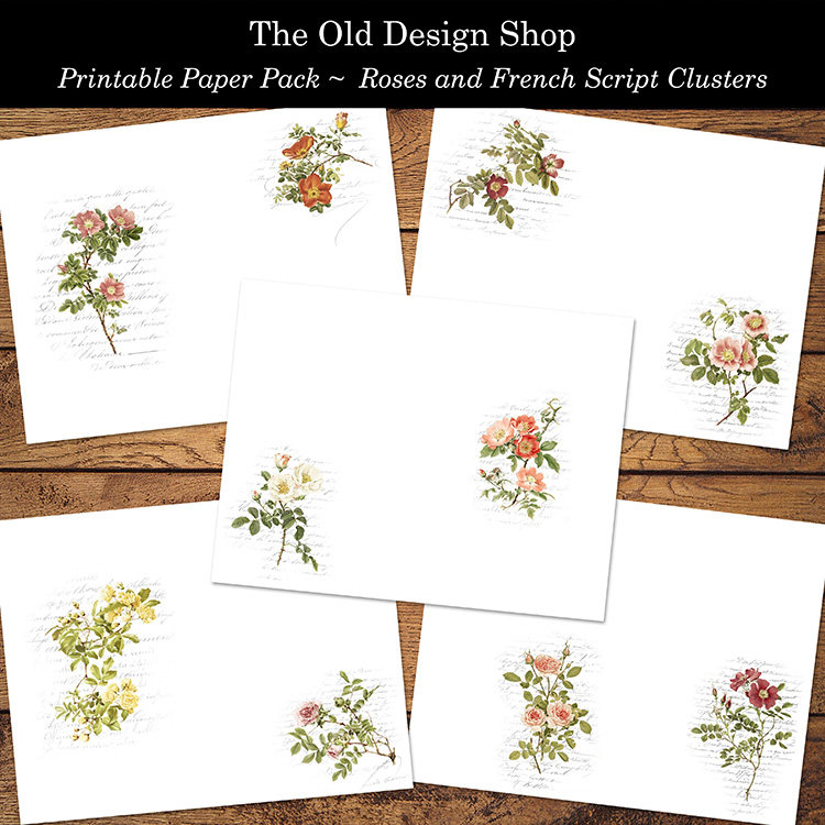 printable vintage roses French script paper pack