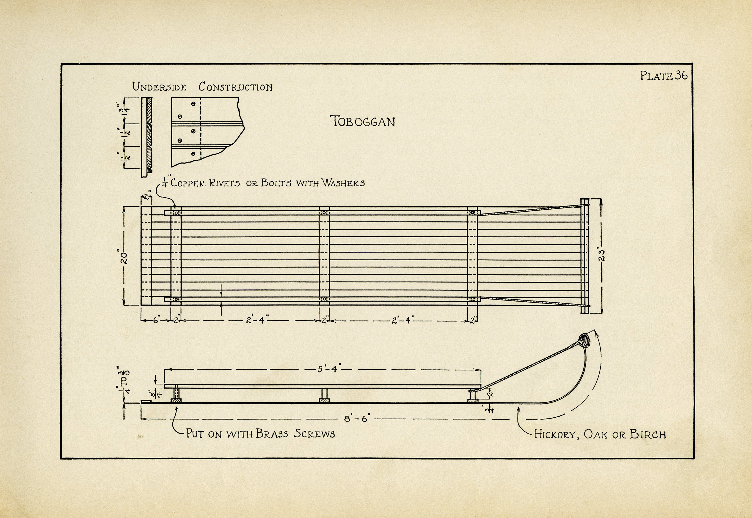 wooden toboggan printable construction specs