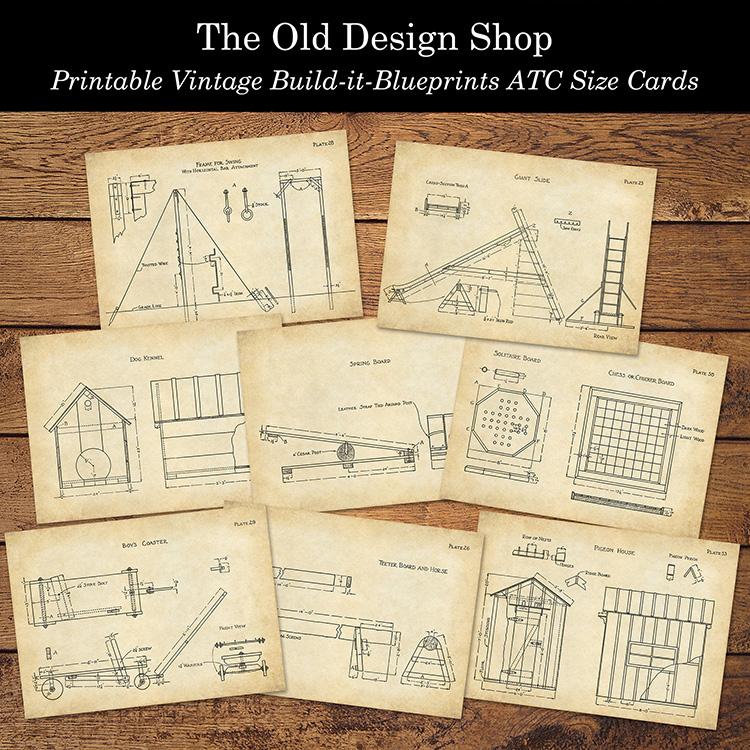 printable ornamental blueprints atc size cards