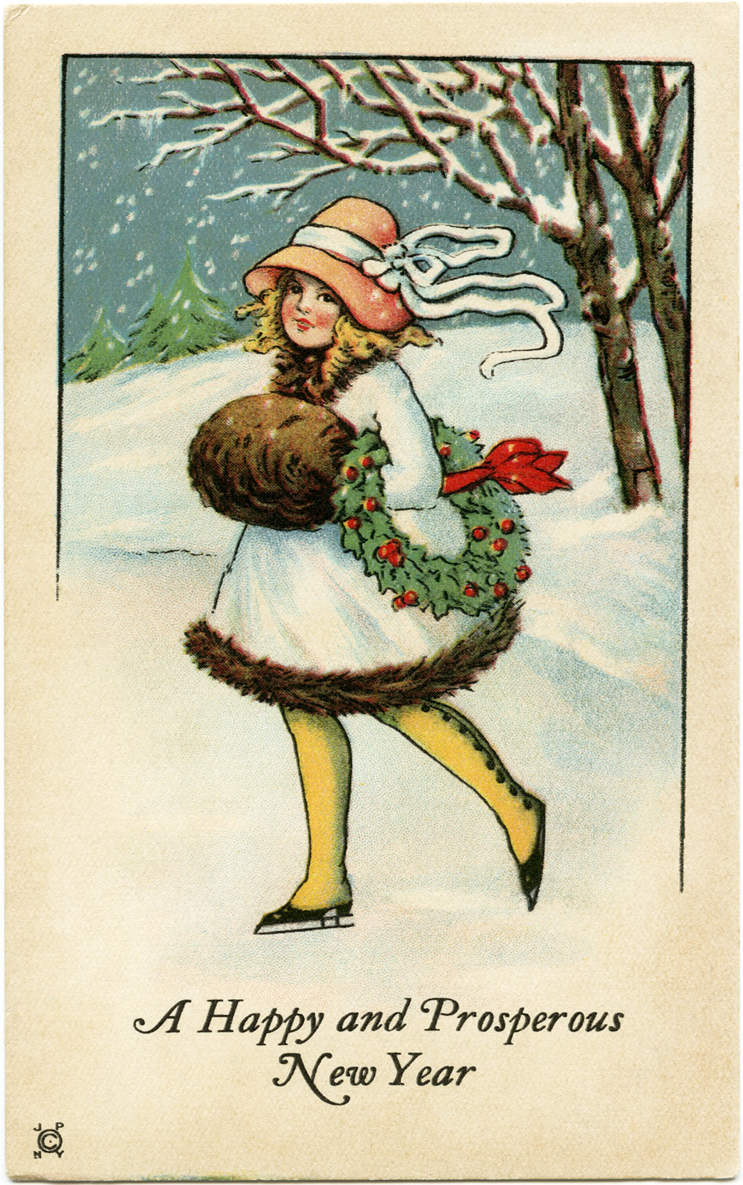 vintage new year printable postcard