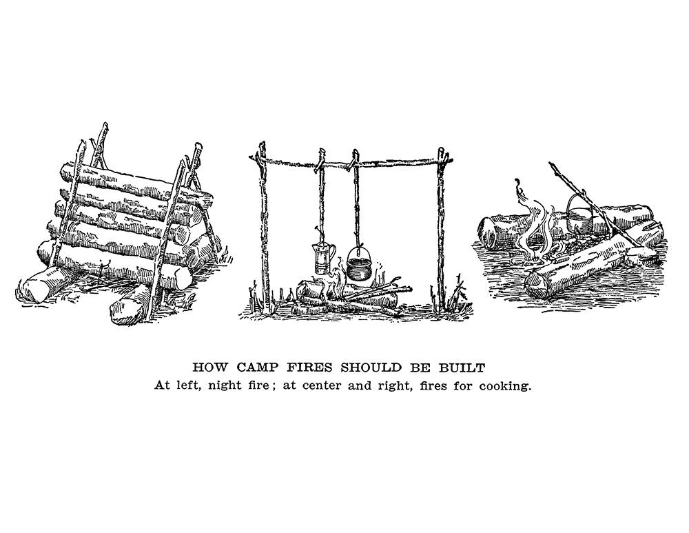 camp fire clip art digital stamp transfer image
