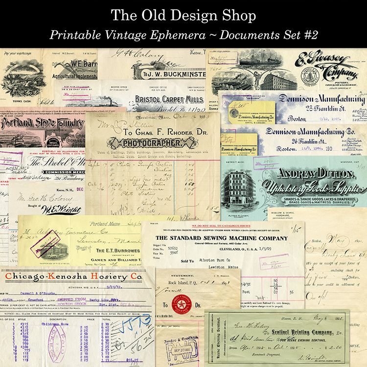 printable vintage documents ephemera